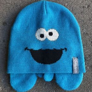 Cookie Monster hat and mittens toddler